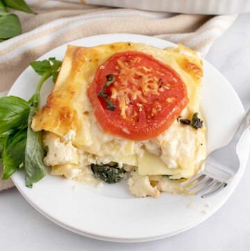 slice of tomato spinach lasagna on a white plate