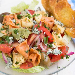 Tortellini Salad with Gorgonzola Crumbles, Olives and Tomatoes