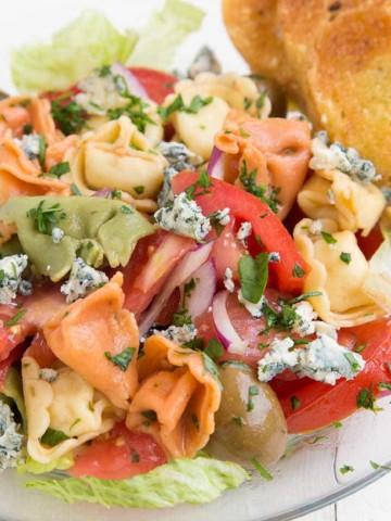 Tortellini Salad with romaine, gorgonzola, olives, garlic toasts