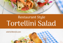 pinterest image for tortellini salad