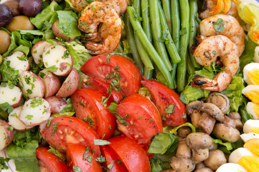 Nicoise salad with shrimp