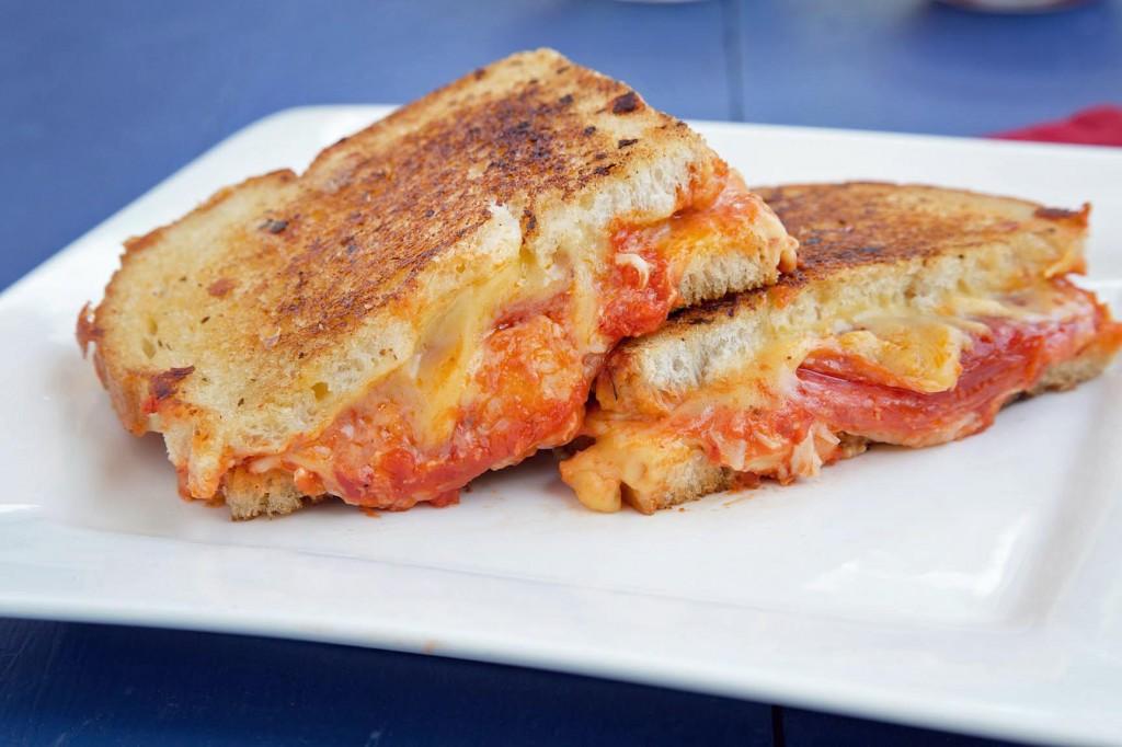 american cheese, mozzarella cheese, sourdough bread, pepperoni, pizza sauce