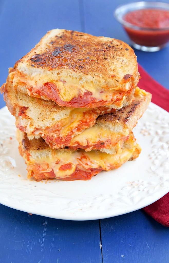 Pepperoni, sourdough bread, mozzarella cheese, american cheese, pizza suace