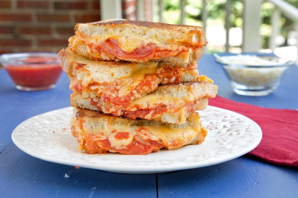 american cheese, pepperoni, pizza sauce,mozzarella cheese, sourdough bread