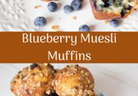 Pinterest image for Blueberry Muesli Muffins