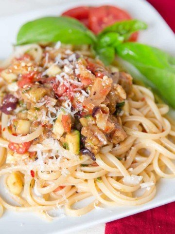 pasta topped with caponata