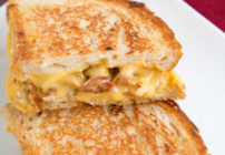 Pinterest image for sweet sausage grilled cheese sandwich