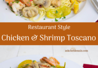 pinterest image for chicken and shrimp toscano