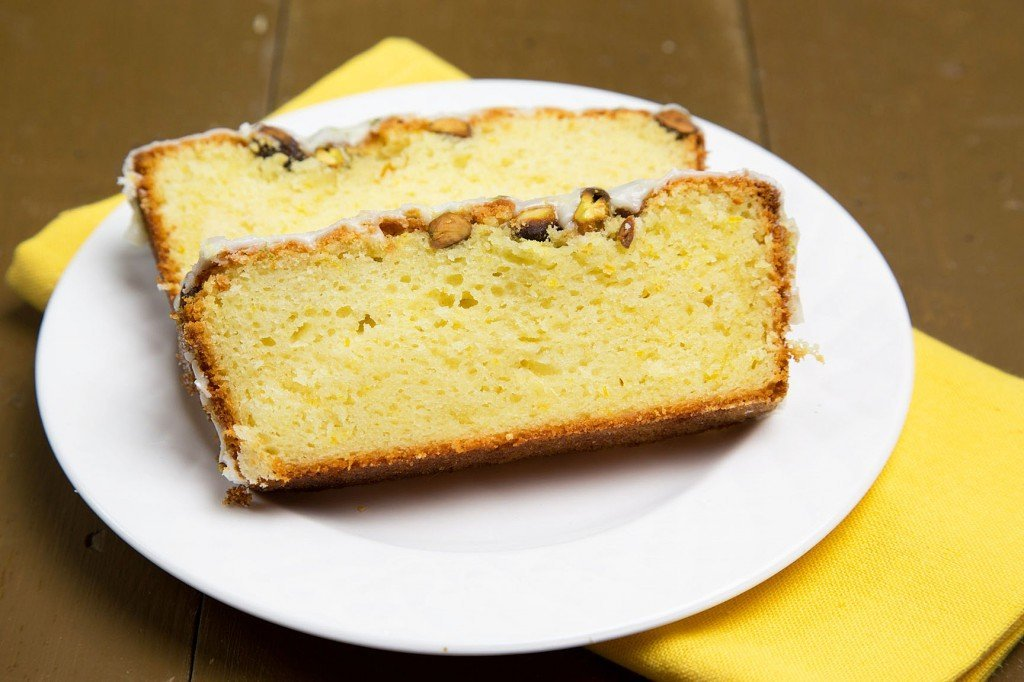 Meyer Lemon Pound Cake with Toasted Pistachios and a Lemon Glaze