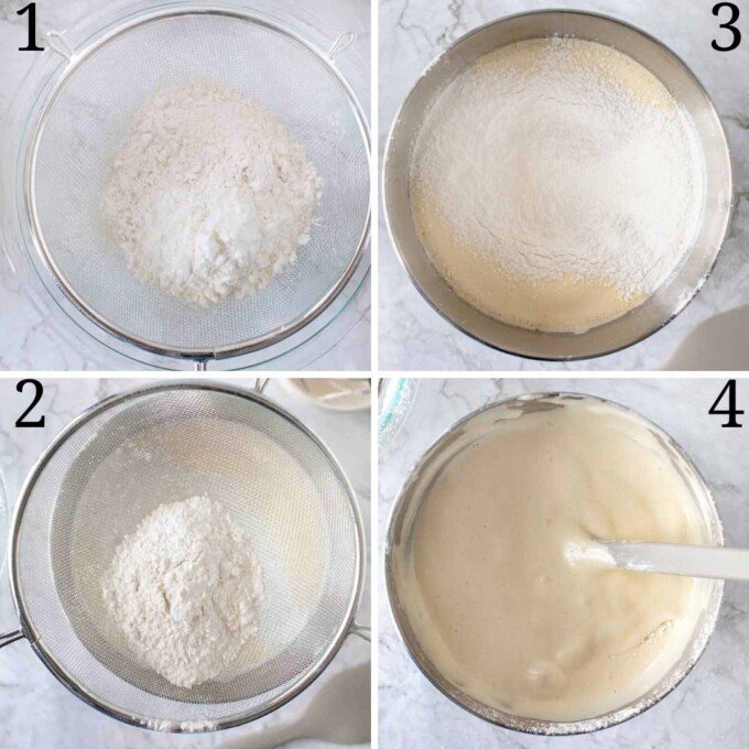four images of flour and mixing into egg mixuture