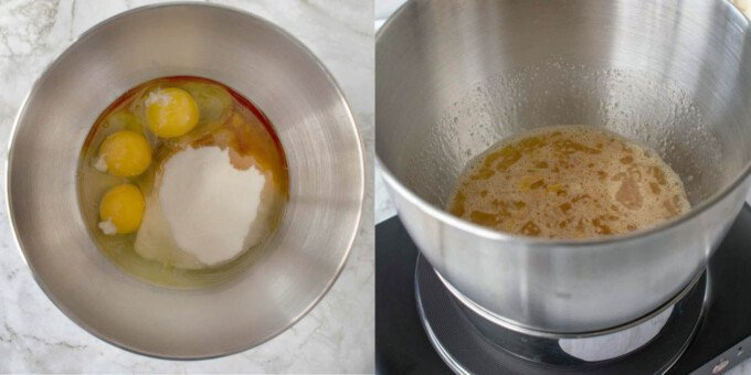 2 images of the egg mixture for the cake