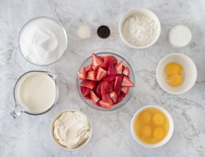 overhead view of ingredients to make strawberry cream cake