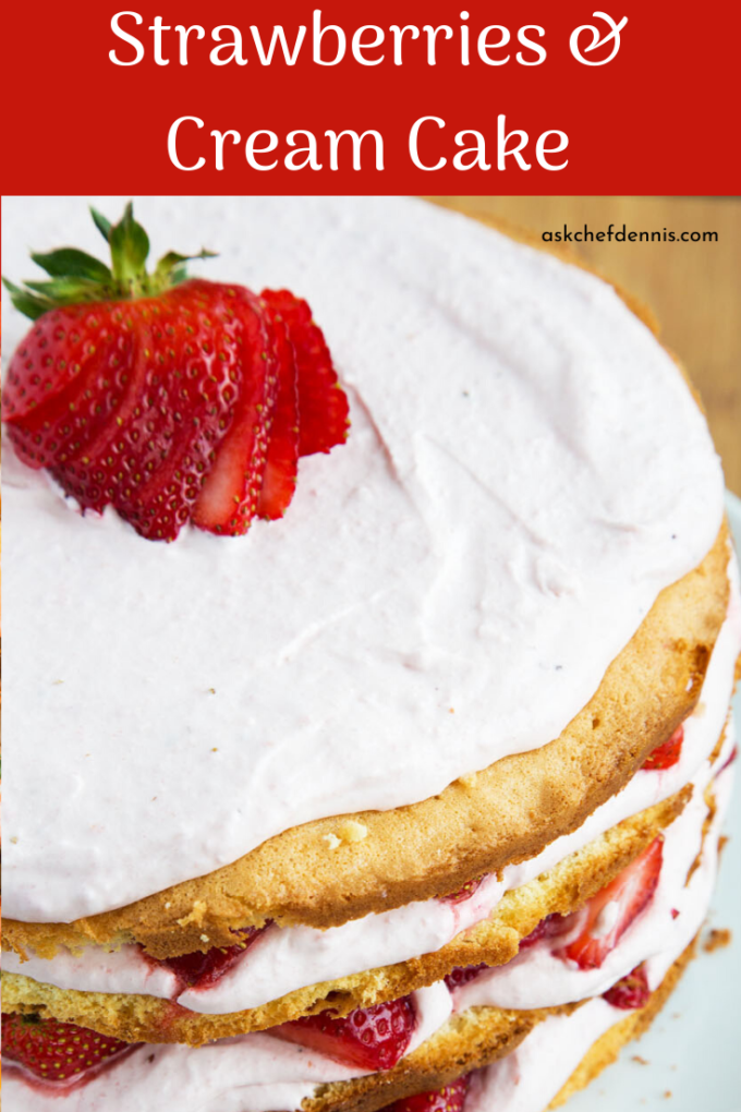 pinterest image for strawberries and cream cake