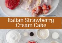 Pinterest image for Italian strawberries and cream cake