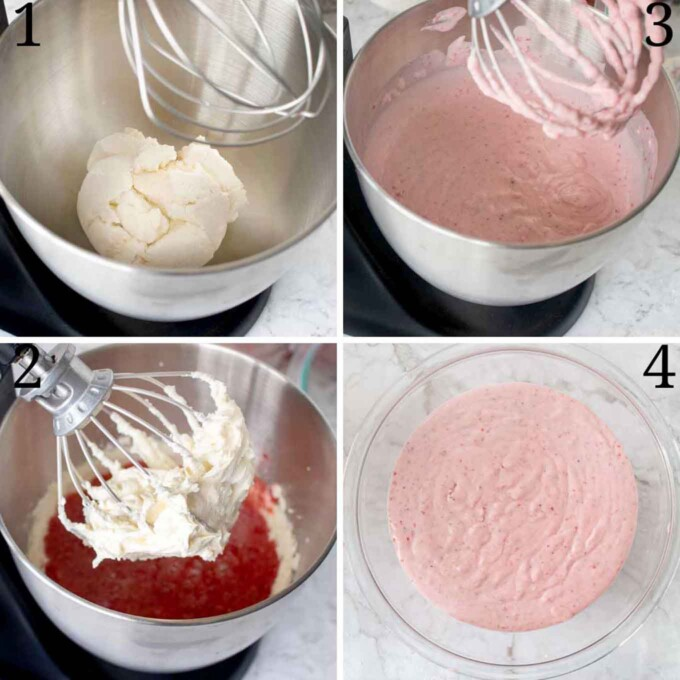 4 images showing how to make the strawberry cream