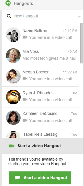 Google Hangouts video chat