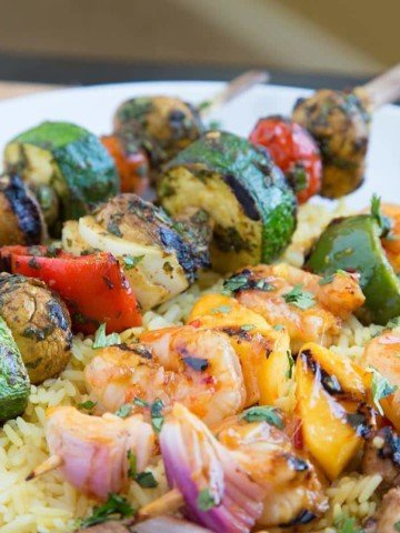 Moroccan Vegetable Skewers, Sweet and Spicy Shrimp Skewers