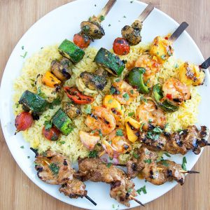 Moroccan Vegetable Skewers, Sweet and Spicy Shrimp Skewers