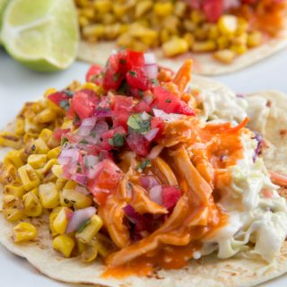 Buffalo Chicken Tacos with a Bleu Cheese Slaw and Roasted Corn