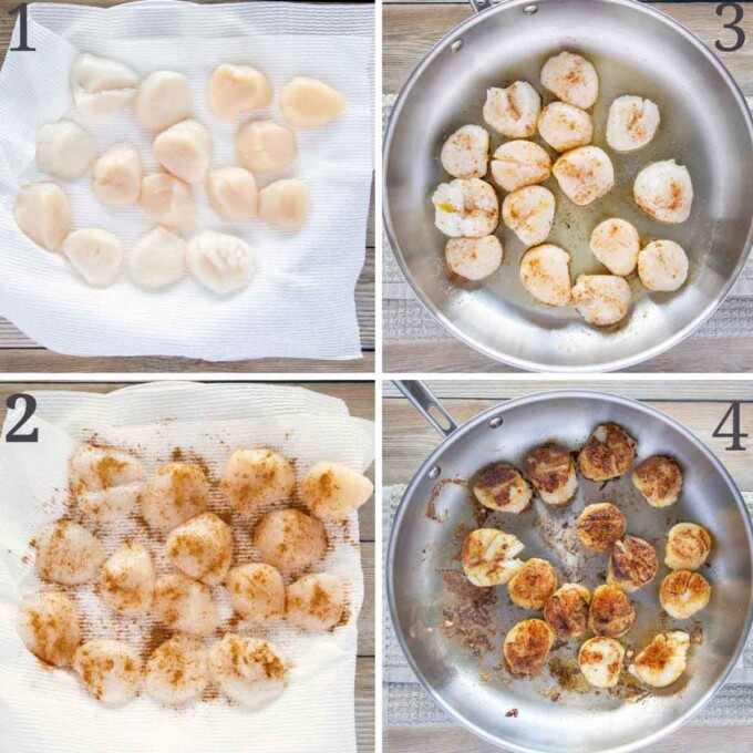 four images showing how to pan sear scallops