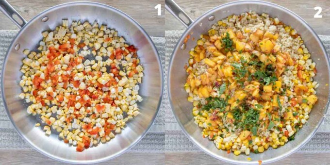 two images showing how to make summer corn medley