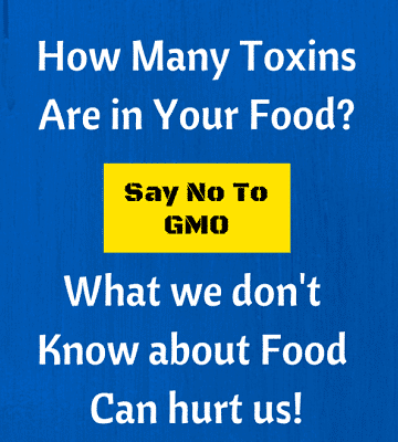 A blue and white sign talking about GMO's
