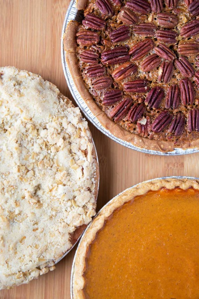 Apple Crumble, Pecan and Pumpkin Thanksgiving Pies 2