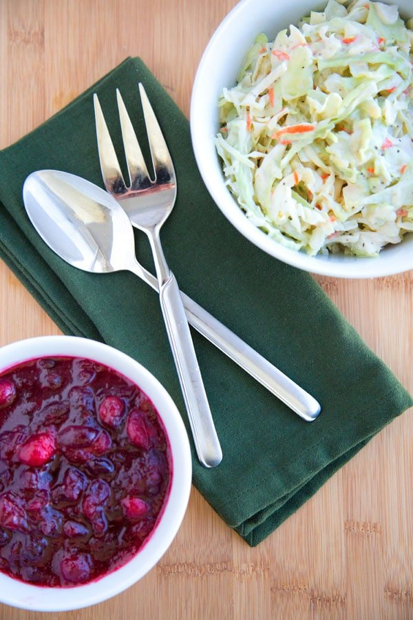 Thanksgiving Side dishes, Cole Slaw and Cranberry Sauce