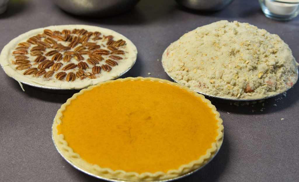 unbaked Pecan, Apple Crumble, and Pumpkin pies