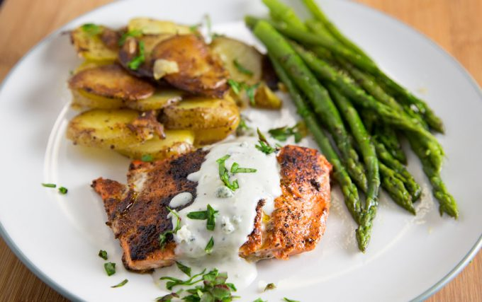 blackened salmon with a gorgonzola cream sauce