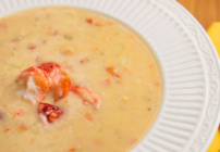pinterest image for lobster chowder