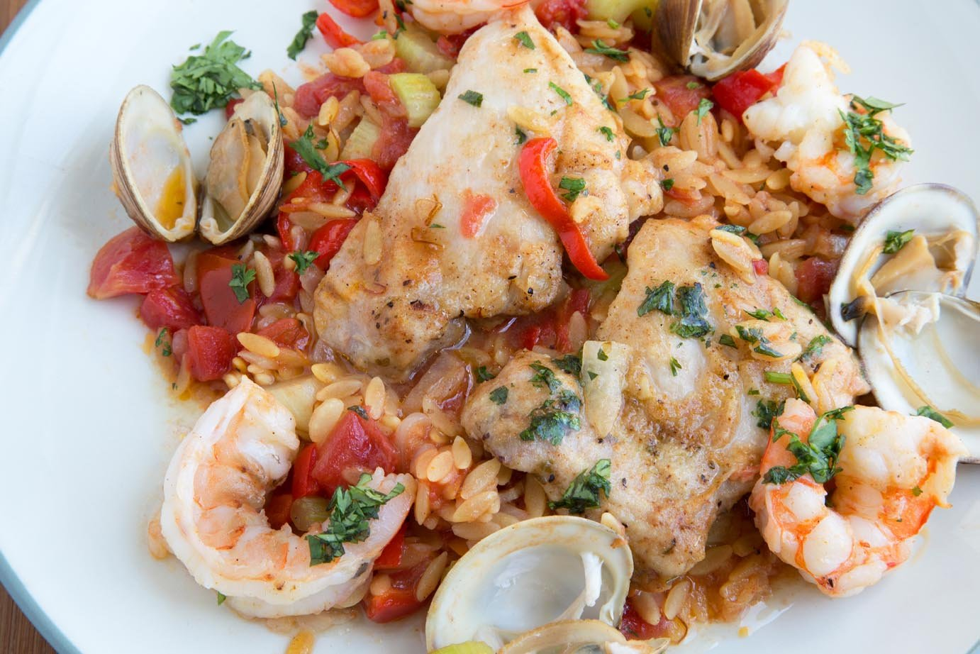 Chicken And Shrimp Orzo Paella Recipe Chef Dennis