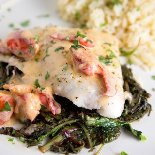 Red Snapper with a Lobster Cream Sauce