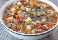 manhattan clam chowder in bowl