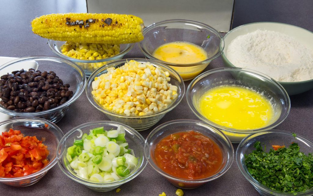 ingredients to make corn fritters and salsa