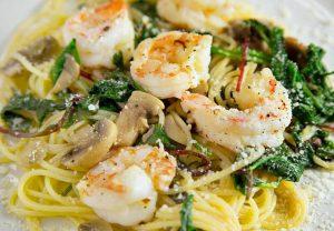 Shrimp with Super greens over pasta