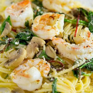 Garlic Shrimp and Supergreens with Pasta