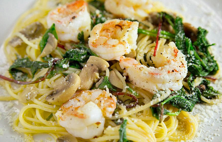 Shrimp with Super greens over pasta
