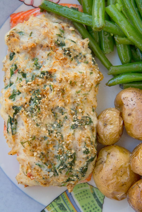 Stuffed Salmon- with crabmeat and cream cheese recipe. Perfect for any occasion!