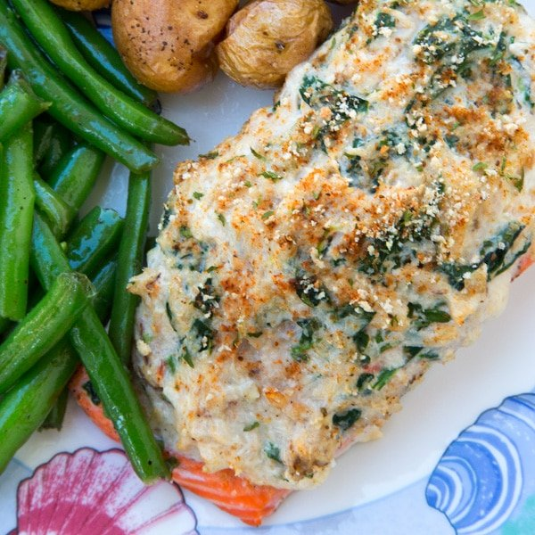 Stuffed Salmon with crabmeat and cream cheese. Perfect for any occasion