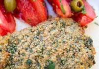 Baked Halibut crusted with Lemon Romano Breadcrumb