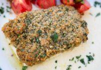 Baked Halibut crusted with Lemon Romano Breadcrumb