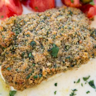 Bread Crumb Crusted Baked Halibut with an Quick Lemon Beurre Blanc