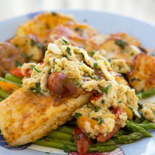 pan seared halibut with a garlic crabmeat topping