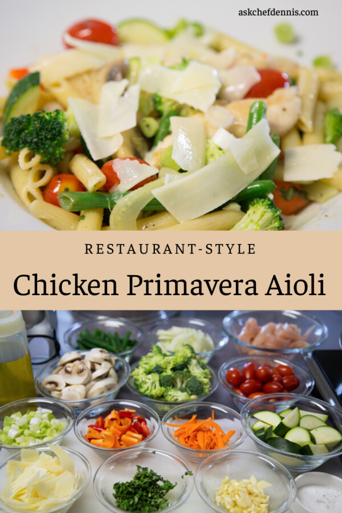 Pinterest image for Chicken Primavera Aioli