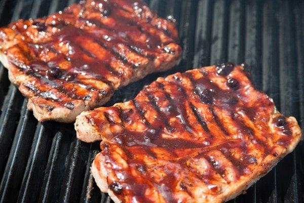 Blueberry Bourbon Barbecue Pork Steaks Chef Dennis