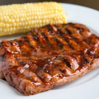 Blueberry-Bourbon Barbecue Pork Steaks