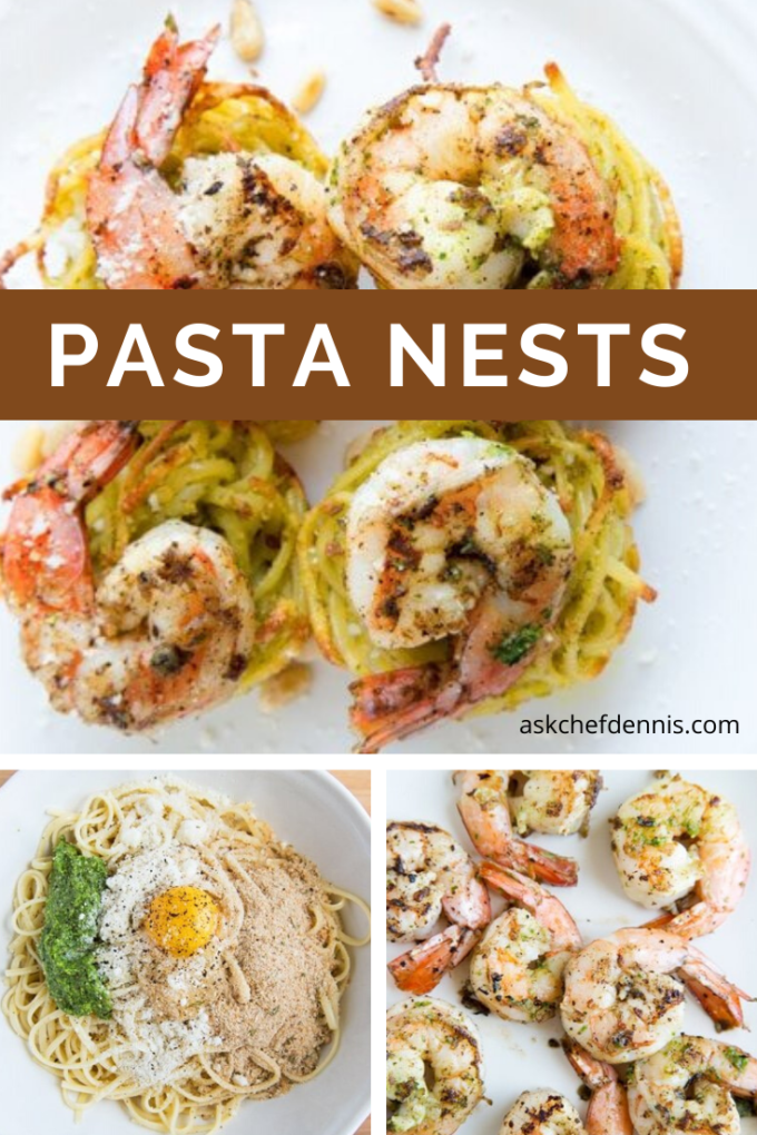 Pinterest image for Pasta nests with shrimp