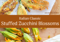 Pinterest image for stuffed zucchini blossoms