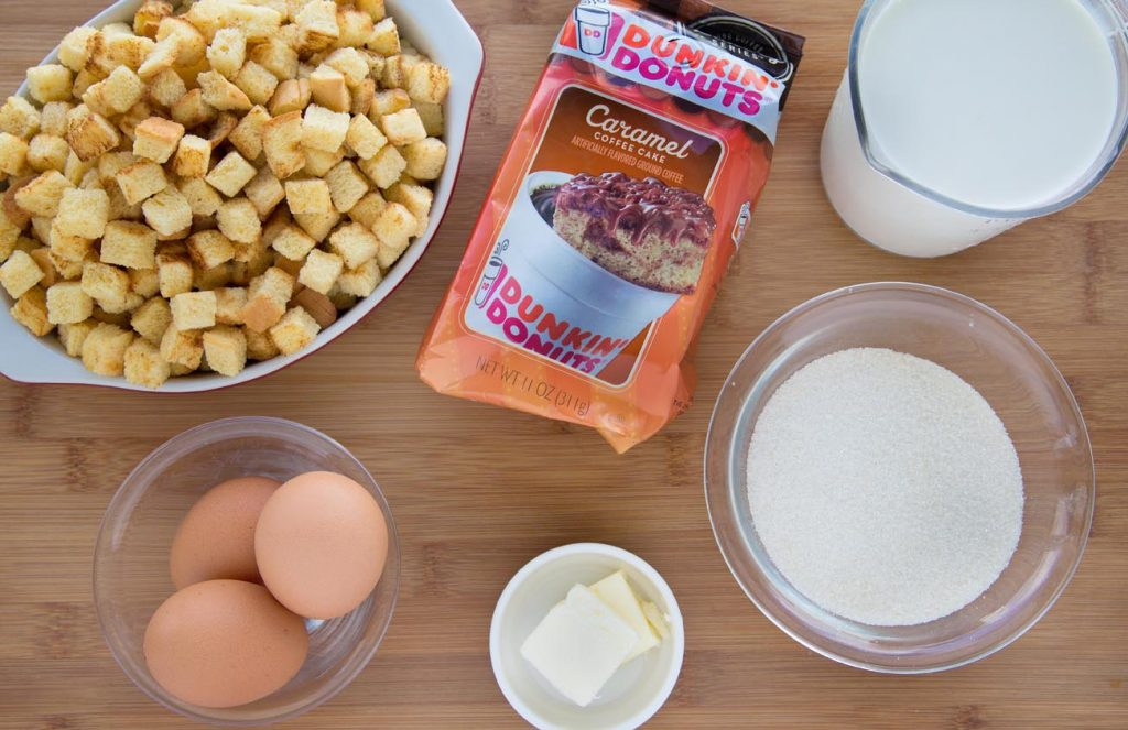 ingredients to make caramel macchiato bread pudding